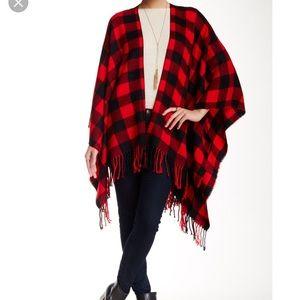 buffalo plaid poncho shawl